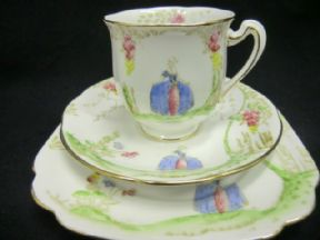 Standard china Deco trio Lady in blue